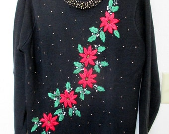 Ugly Christmas Sweater black with Poinsettas, US Ladies size M, Holiday Sweater, Oversized