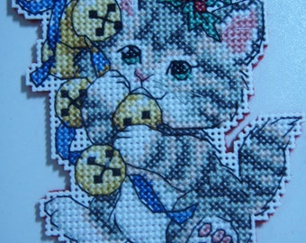 Cross Stitched MERRY CHRISTMAS KITTIE #4 Ornament