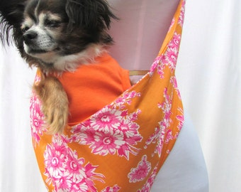 Pet Dog Sling Carrier- Orange and Pink Vintage Floral