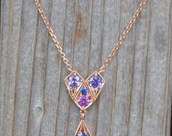Rose Gold Sapphire Necklace, sapphire pendant, gemstone necklace, kite necklace, gifts for moms, September birthstone, colored gemstones