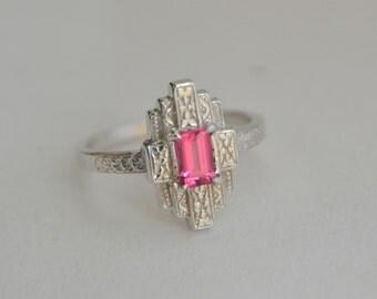 White Gold Art Deco Ring, New York style ring, white gold engraved ring, Vietnamese spinel ring, red gem art deco ring, 1930s style ring