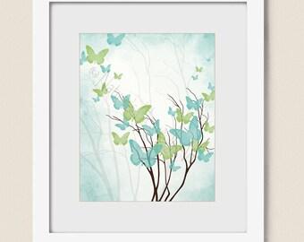 Aqua Blue Green Wall Art Girls Room Wall Decor 8 x 10 Print, Butterfly Wall Art for Girls Butterfly Decor, Butterfly Art  (429)