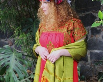 Red With Chartreuse green Embrodery Mexican Wedding Dress
