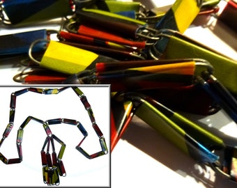 Unusual Early Plastic & Steel Art Deco Necklace. Circa 1940s, or Older. Colorful and Fun Lavalier .