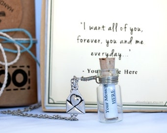 Personalized Quote Bottle Necklace -  Custom Anniversary Gift - Cute Message Bottle Necklace - Custom Jewelry - Gift Wrapped - Ships Fast!