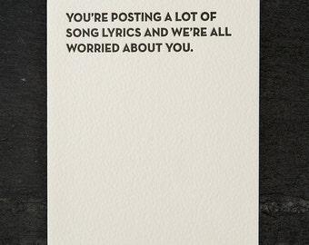 song lyrics. letterpress card. #123