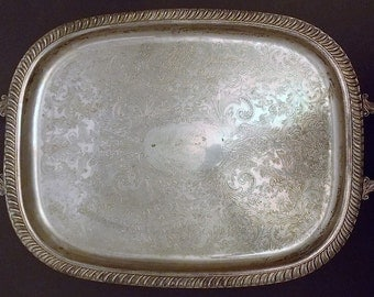 Vintage 1960s Large Silverplated Tray, Leonard Design, Footed, With Handles, Victorian Design