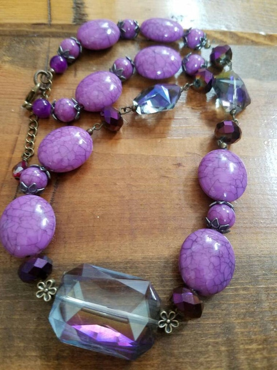 Purple bead necklace, lavender necklace, purple crystal necklace, crystal necklace, beaded necklace