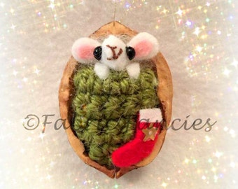 Teenie tiny mouse in a walnut shell hanging ornament decoration