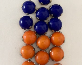 Vintage Rose Montee 6mm Sew Ons - Lapis Blue and Orange/Silver Setting