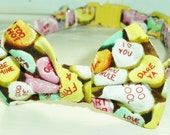 Valentines Candy Hearts Bow Tie Collar For Cats