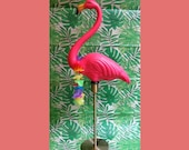 Flamingo Lamp with Gold Base - Standing Pink Flamingo
