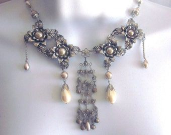 Pearl Bib Assemblage Necklace Wedding Jewelry One of a Kind