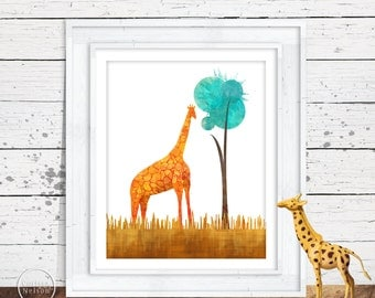 Giraffe Illustration Nursery Art Instant Printable in Turquoise and Orange