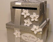 Wedding  Card Box 2 tie Silver and White Gift Card Box Money Card Box Holder-customize your color