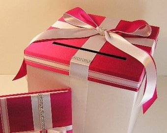 Wedding  Card Box Fuchisa(watermelon pink) and White Gift Card Box  Money Box Holder-Customize your color