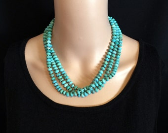 "Long Turquoise Rondelle Necklace 57"" long. Wear it Multiple Ways.  One of a Kind. OOAK N239"