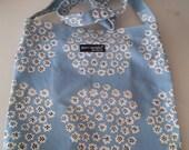 Marimekko vintage PUKETTI BAG 33x35 cm cotton fabric light blue background white flowers black dots tillukka Finland