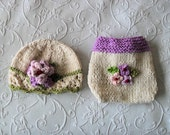 Hand Knitted Baby HAT and  DIAPER COVER Easter Hat and Diaper cotton knitted baby hat Newborn Knitted Baby Hat Knitted Baby Beanie