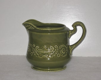 Vintage Canonsburg Regency Large Green Pitcher, Grecian Embossed Urn 1960s Mid Century Retro Kitchen Dining Ware
