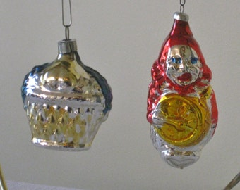 Vintage Pair West Germany Christmas Tree Hanging Ornaments, Colorful Mercury Glass Figural Clown, Fruit Basket,