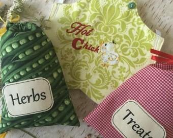 Chicken Lover Gift Set - Hen Apron Set - Hen Saddle - Hen Protector - Nesting Box Herbs - Chicken Coop Decor - Chicken Treats - Chicken Lady