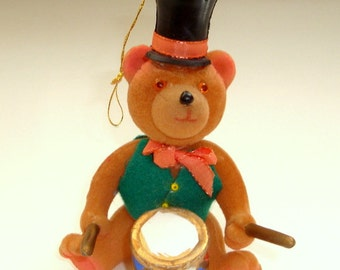 Vintage Flocked Bear Christmas Ornament, Black Hat, Drum, Musical, Holiday Decor, Plastic Blow Mold, Christmas Decoration, Crafting  (181-16