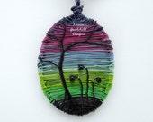 Aurora pendant, Northern Lights pendant, wire wrapped pendant, MADE TO ORDER, rainbow pendant, silhouette pendant, wire scene, tree pendant