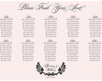 Pink Roses Seating Chart Digital Design Printable PDF Custom Personal Poster Print File ONLY Seating Plan Valentines Day Romantic Gothic