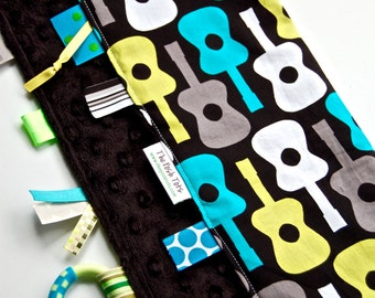 Baby Boy Blanket with Ribbon Tags - Groovy Guitar with Your Choice of Minky Color