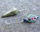 Handmade pendulum   Vesuvianite pendulum with a vintage sterling chain with a Tibetan Bead with Turquoise