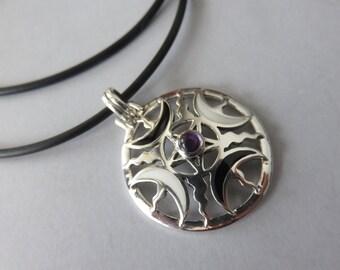 Sterling Silver Pentagram Pendant, Peter Stone Amethyst fire moon Pentagram on a Black Cord