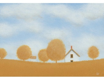 "FARM HOUSE Folk Art Painting STUDY Farm Painting Old Farmhouse 5 x 7"" Landscape Cottage Painting Original Art Gift Birthday Country art Folk"