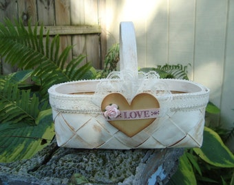Wooden flower girl basket. shabby chic basket with ivory lace and wooden heart. country wedding . rustic wedding