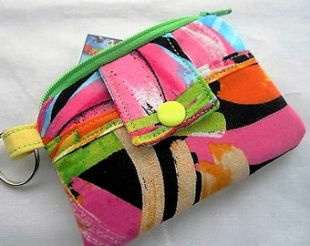 Zippy Zipper Wallet Pouch Key Card holder - Multi Colors Yellow Green Blue Pink White