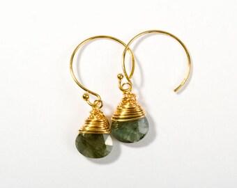 Hoop Earrings, Gold Hoop Earrings, Gemstone Earrings, Gold Earrings, Gold Jewelry, Moss Aquamarine, Birthday Gift, Everyday Earrings, Hoops