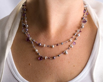 Long Necklace, Purple Necklace, Long Purple Necklace, Layered Pearl Necklace, Purple Pearl Necklace, Layered Necklace