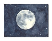 Full Moon ACEO Original Watercolor Painting, Miniature Painting, Miniature Art, Stars, Space, Galaxy, Night Sky
