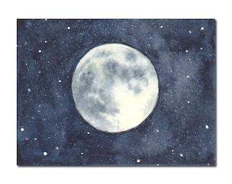 Full Moon ACEO Original Watercolor Painting, Miniature Painting, Miniature Art, Stars, Space, Galaxy, Night Sky