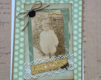Handmade Card with Vintage Photo of Little Boy