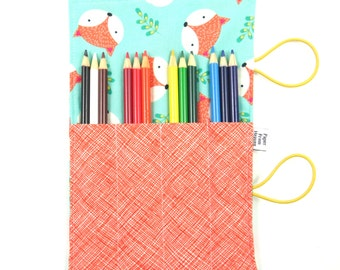 Mini Pencil Case - Happy Camper Fox - art party favor, fox pencil roll, Bible Journaling, adult coloring, colored pencil holder
