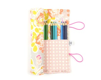 Pencil Roll - Sweet as Honey -  flower pencil case, adult coloring, Bible journal accessory, animal colored pencil roll
