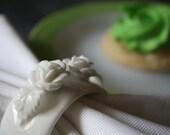 Vintage - White Bone China Rosette Napkin Rings - Set of 8 - In Original Boxes