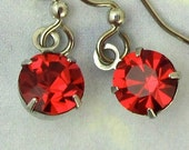 ON SALE Valentines Jewelry  RED Crystal Earrings Swarovski Crystal Drop