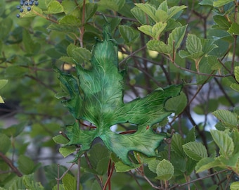 Green Maple Leaf Leather Mask