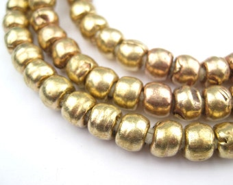 85 Brass Padre Beads - African Metal Beads - Round Ethiopian Beads - Jewelry Making Supplies - Made in Ethiopia ** (MET-RND-BRS-271)