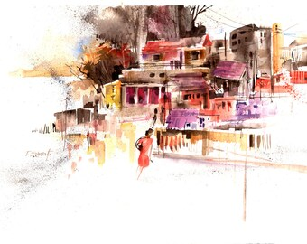 Watercolor - Original watercolour - Downtown
