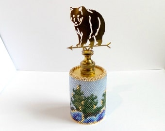 Kodiak Brown Bear beadwork weathervane paperweight for office home or desk decor with rolling coastal waves and forest trees