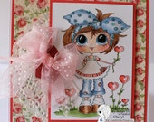 Handmade, Hand Colored Handcrafted,  Paper ,Greeting, Card