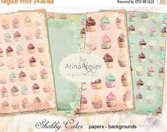 SALE 30% OFF - Shabby Cupcakes Digital Papers - Backgrounds - digital collage sheet - set of 4 - Printable Download